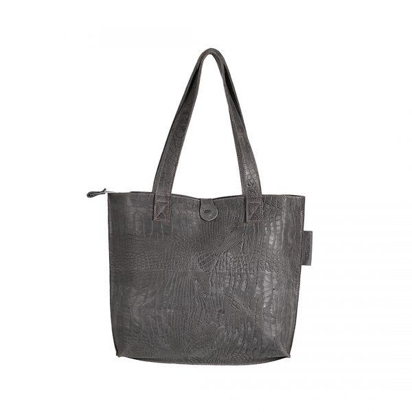 Lederen dames tas shopper Croco donker grijs New Look