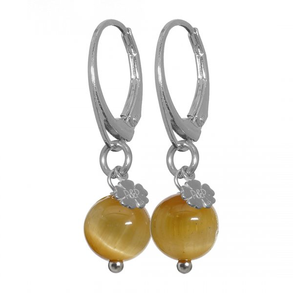 edelsteen oorbellen zilver geel Tijgeroog Earring Rocks