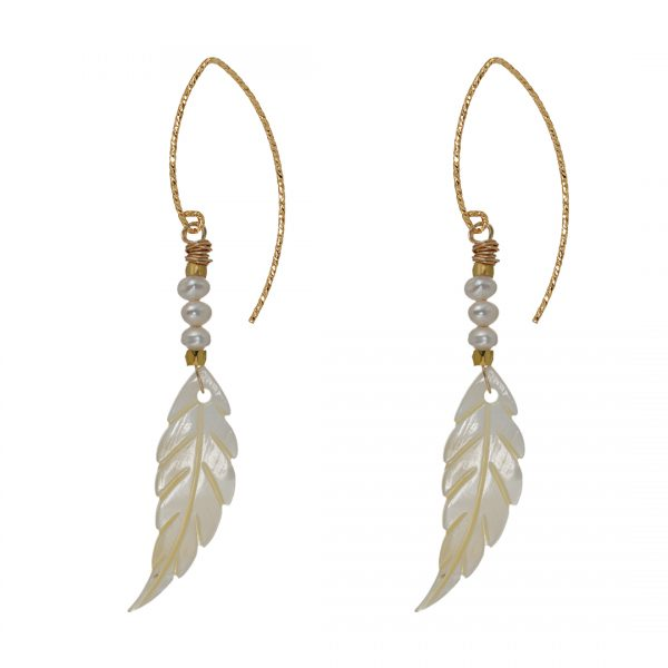 742 12 Edelsteen Oorbellen Goud wit parel Wing Fruity Pearls