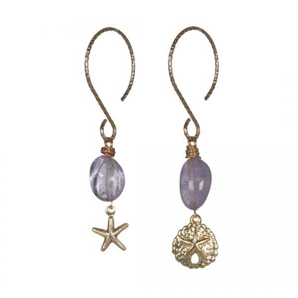 742 18 Edelsteen Oorbellen Goud lila Amethist Oceaan Fruity Pearls