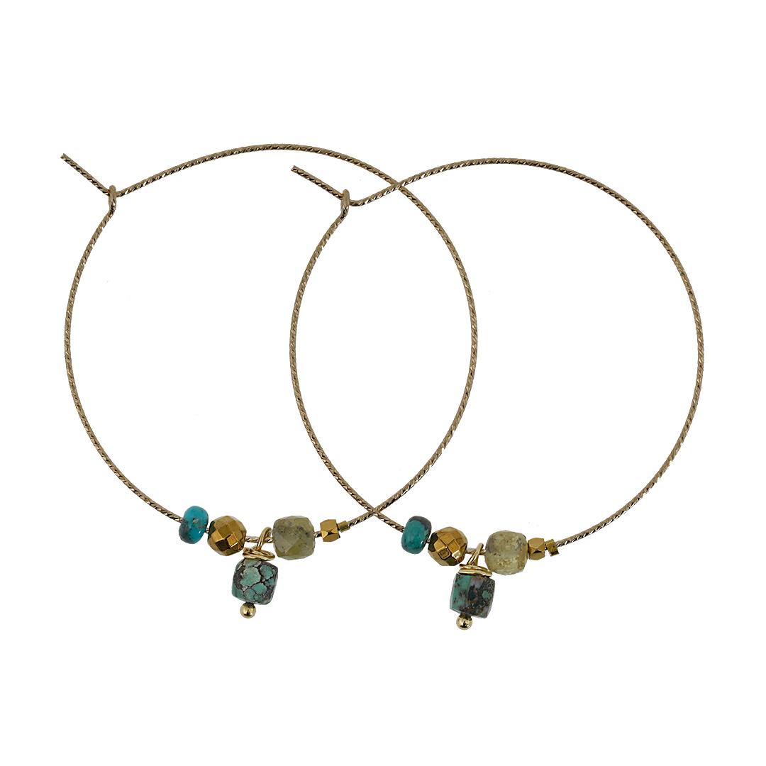 Edelsteen Oorbellen goud groene mix Gems Fruity Pearls