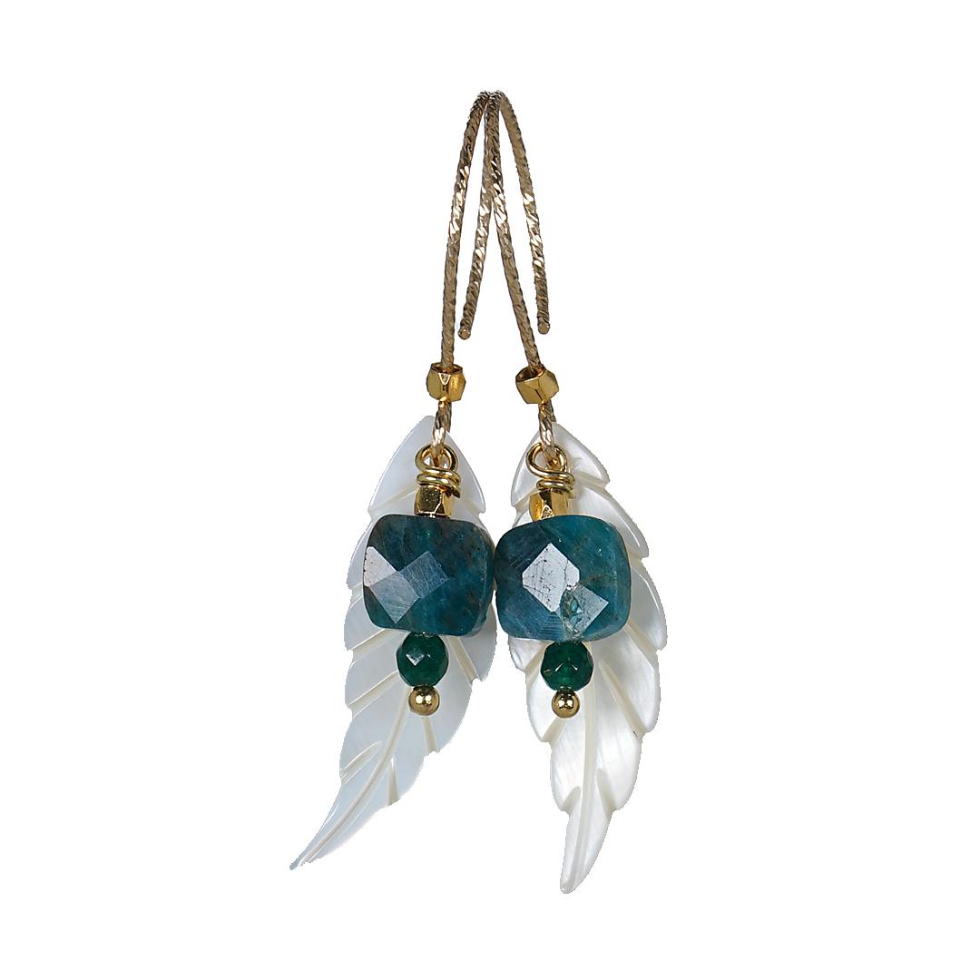 Edelsteen Oorbellen Goud blauw Apatiet Wings Fruity Pearls B