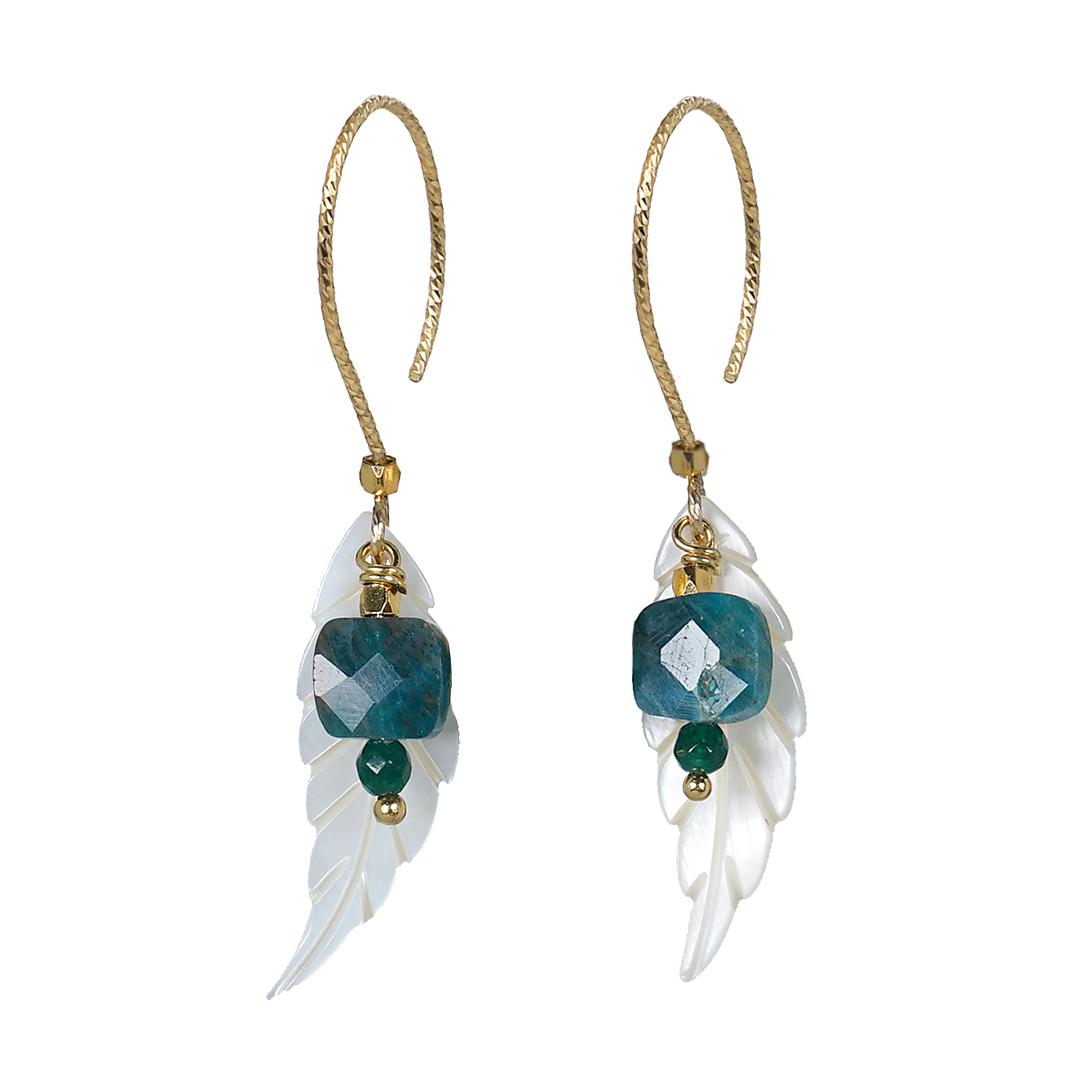 Edelsteen Oorbellen Goud blauw Apatiet Wings Fruity Pearls