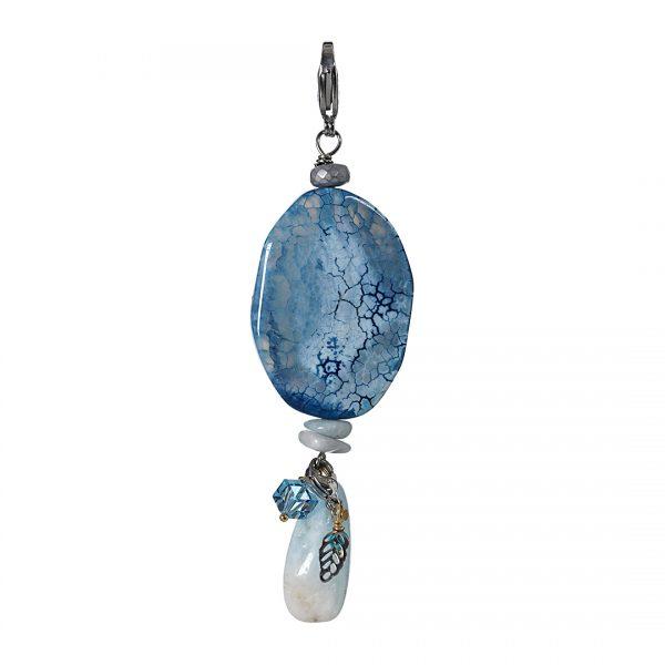 778 81 Edelsteen bedel Agaat blauw zilver Romance