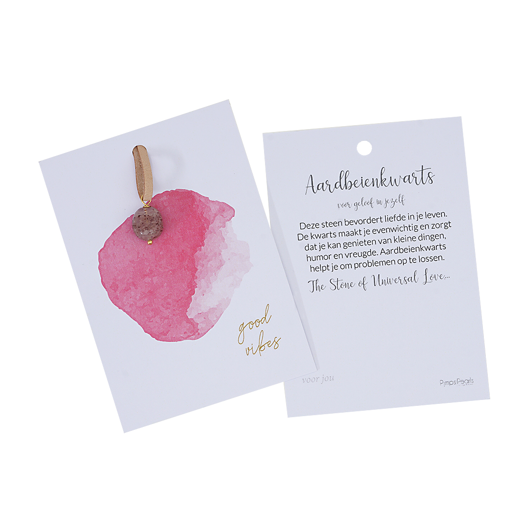 Kaarten met geluks edelsteen Aardbeienkwarts