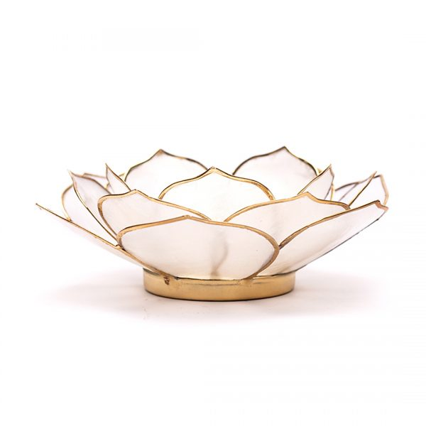 Set van 2 stuks Lotus sfeerlicht bladvorm wit goudrand