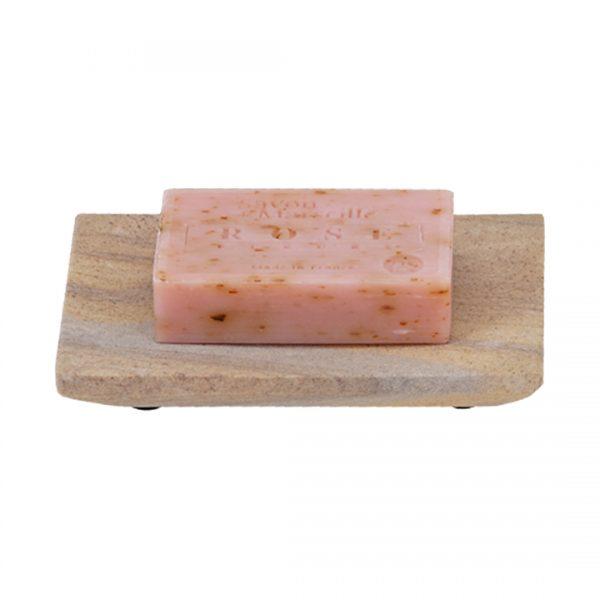 Zeephouder Zandsteen beige met Rose Marseille zeep