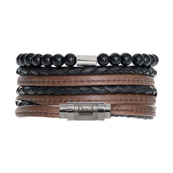 Handgemaakte heren armband van lederen edelsteen