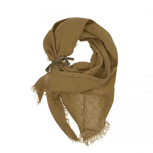 Linnen driehoek sjaal tabac Triangle bruin Dress2Kill