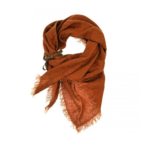 Linnen driehoek sjaal roest bruin Triangle Dress2Kill