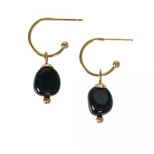 Edelsteen oorbellen Onyx zwart goud Liberte