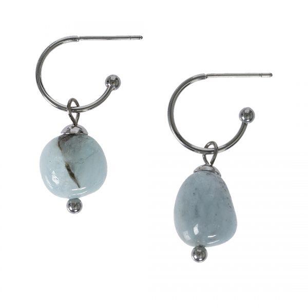 Edelsteen oorbellen Aquamarijn blauw zilver Liberte
