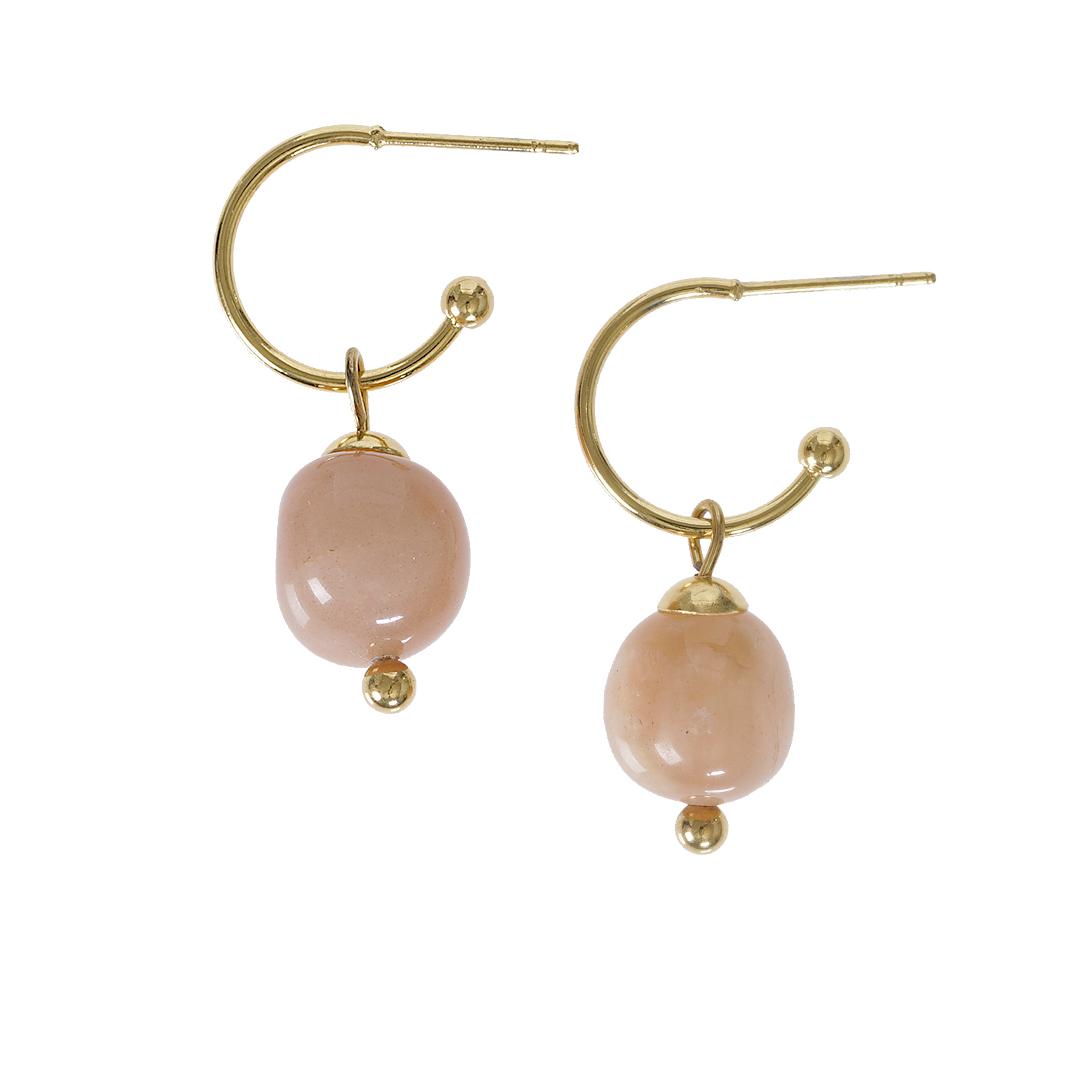 Edelsteen oorbellen Maansteen roze goud Liberte