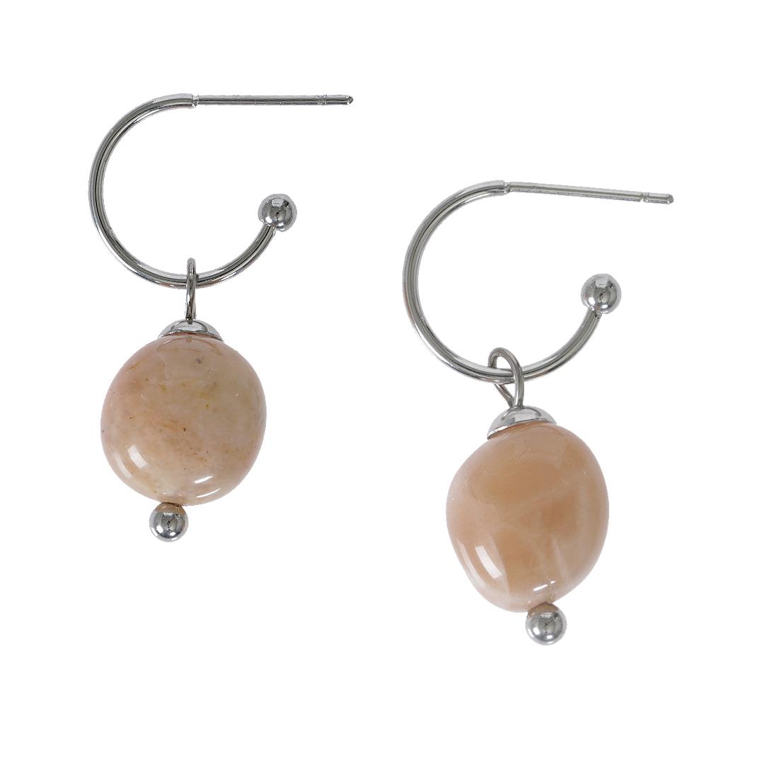 Edelsteen oorbellen Maansteen roze zilver Liberte