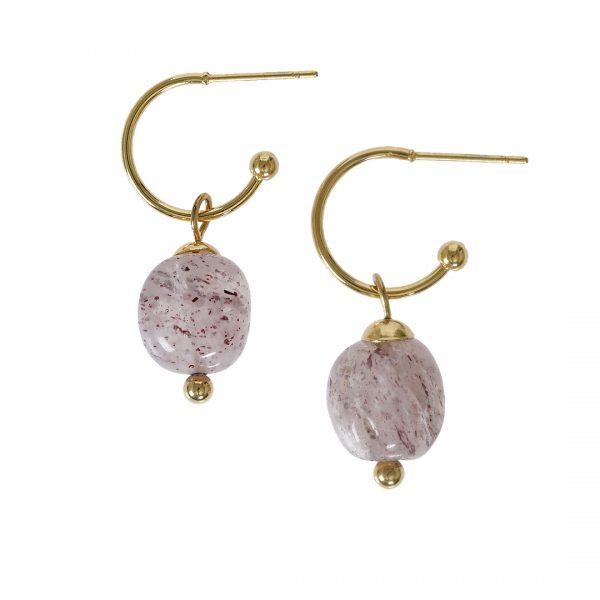Edelsteen oorbellen Aardbeikwarts roze goud Liberte