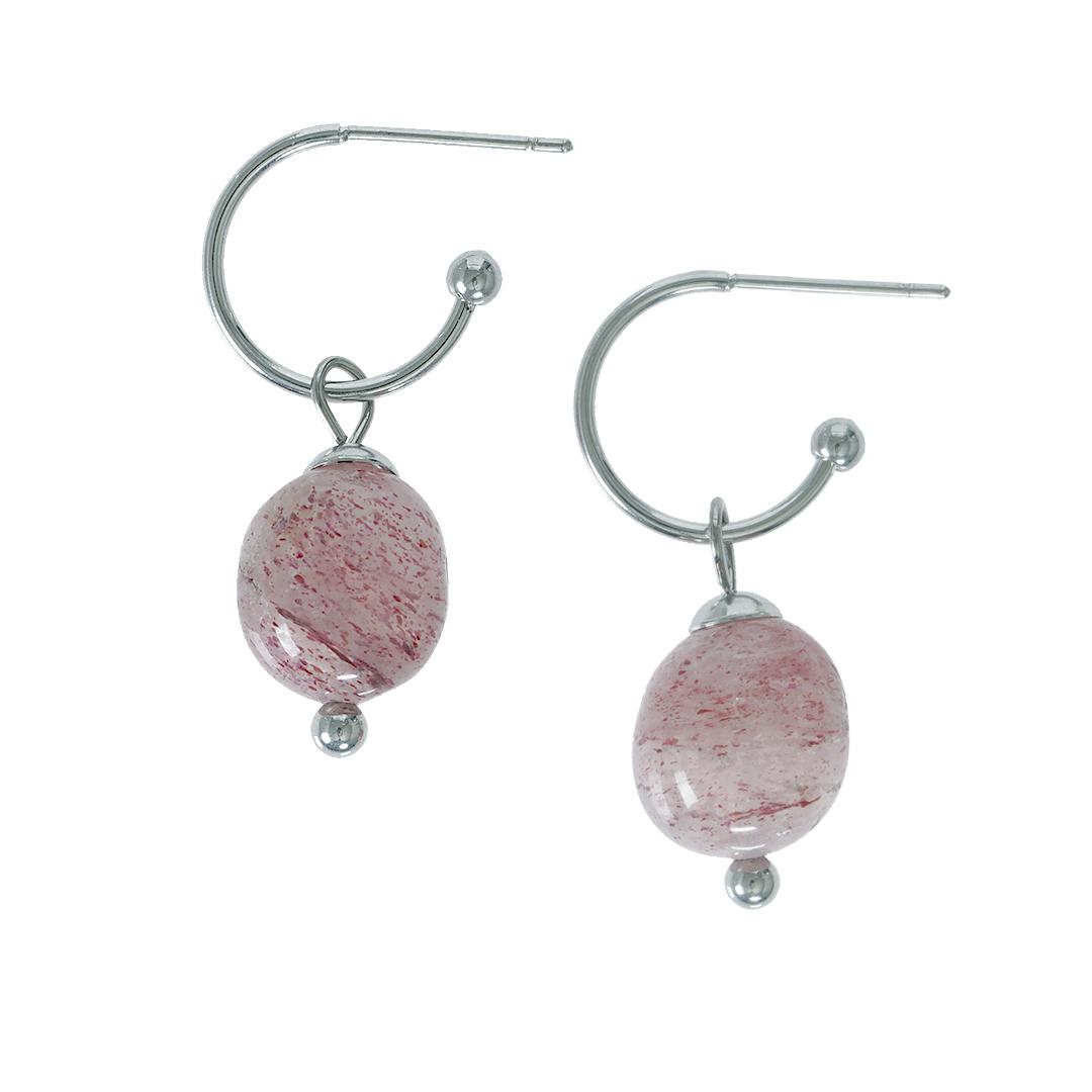 Edelsteen oorbellen Aardbeikwarts roze zilver Liberte