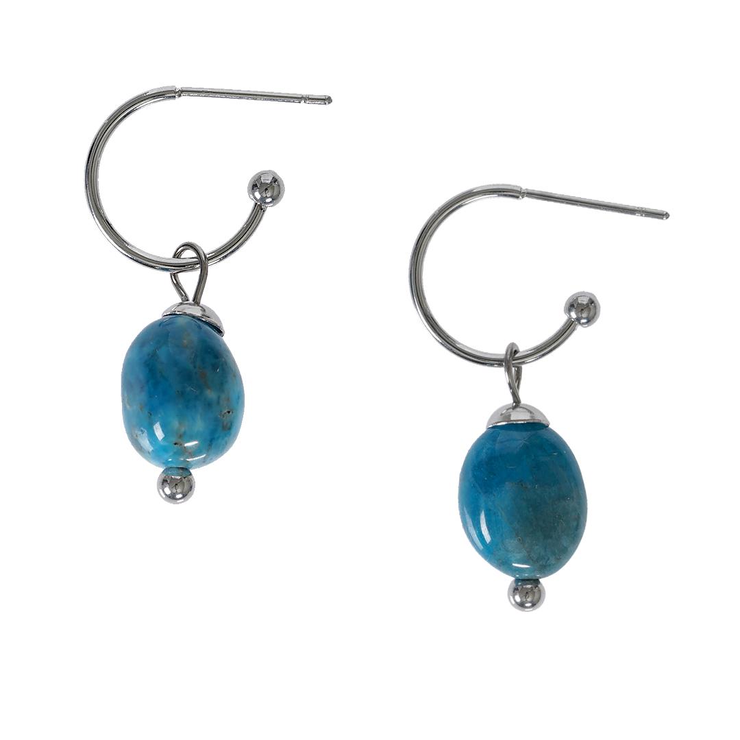 Edelsteen oorbellen Apatiet blauw zilver Liberte