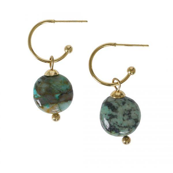 Edelsteen oorbellen Turquoise groen goud Liberte