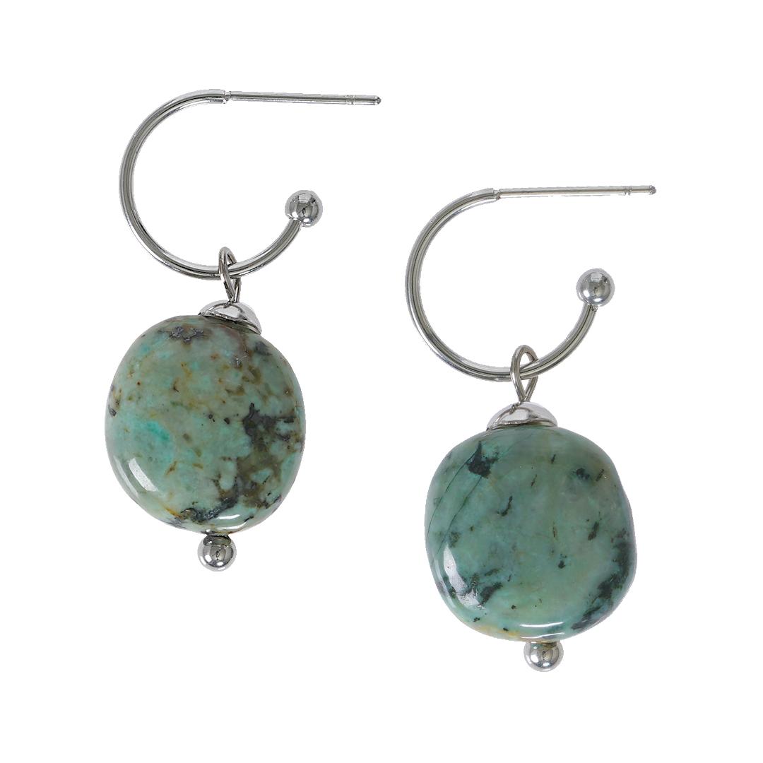 Edelsteen oorbellen Turquoise groen zilver Liberte