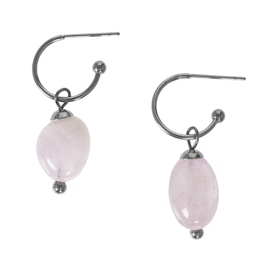 Edelsteen oorbellen Rozenkwarts roze zilver Liberte