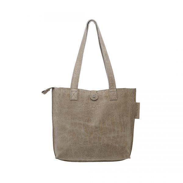 Lederen dames tas shopper Croco zand New Look