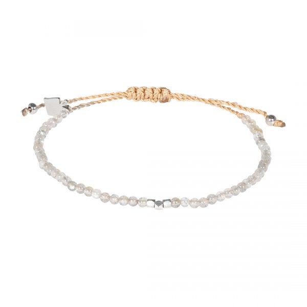 Handgemaakte edelsteen fijne armband Labradoriet grijs Pull