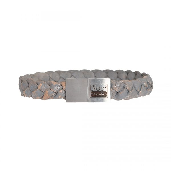 Handgemaakte lederen armband met RVS sluiting