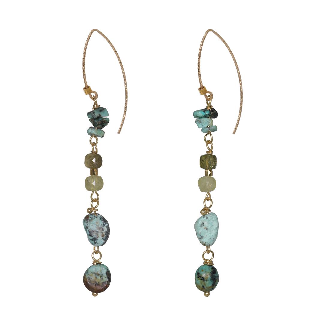 Edelsteen Oorbellen Goud groen Turquoise Liberty Fruity Pearls
