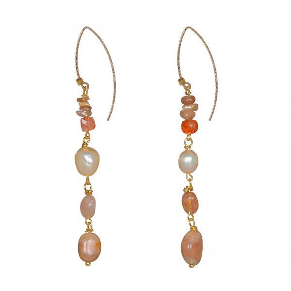 Edelsteen Oorbellen Goud oranje Zonnesteen Liberty Fruity Pearls