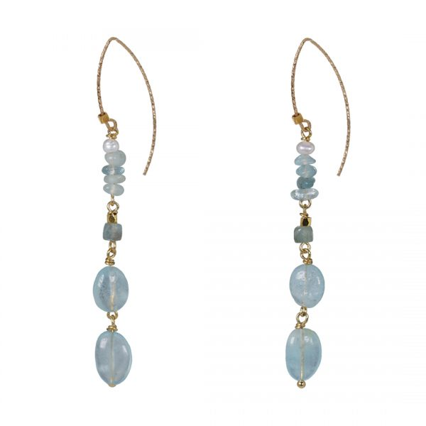 Edelsteen Oorbellen Goud blauw Aquamarijn Liberty Fruity Pearls