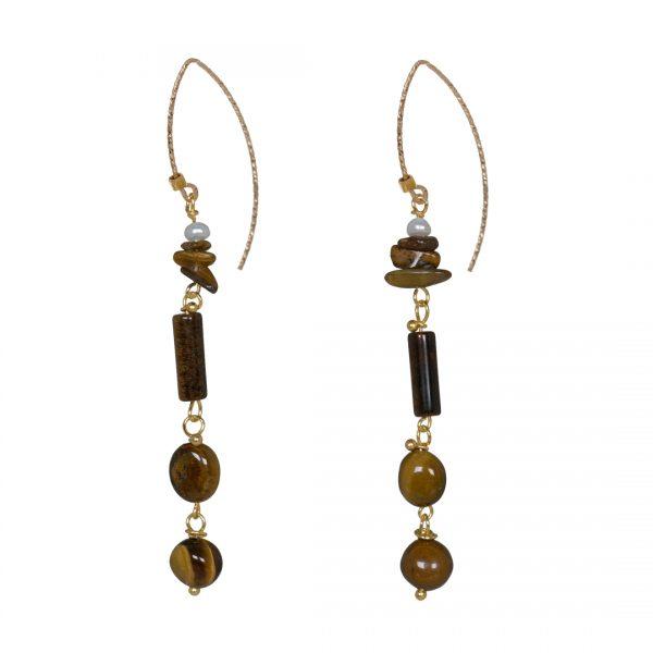 Edelsteen Oorbellen Goud bruin geel Tijgeroog Liberty Fruity Pearls