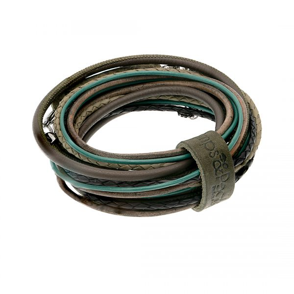 leren wikkel armband ketting groen blauw Superior