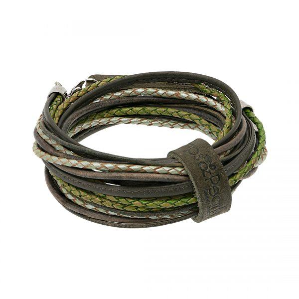 leren wikkel armband ketting groen puur Superior