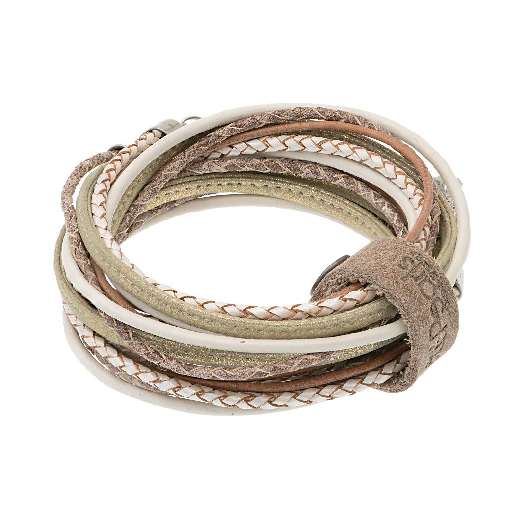 leren wikkel armband ketting naturel shine Superior