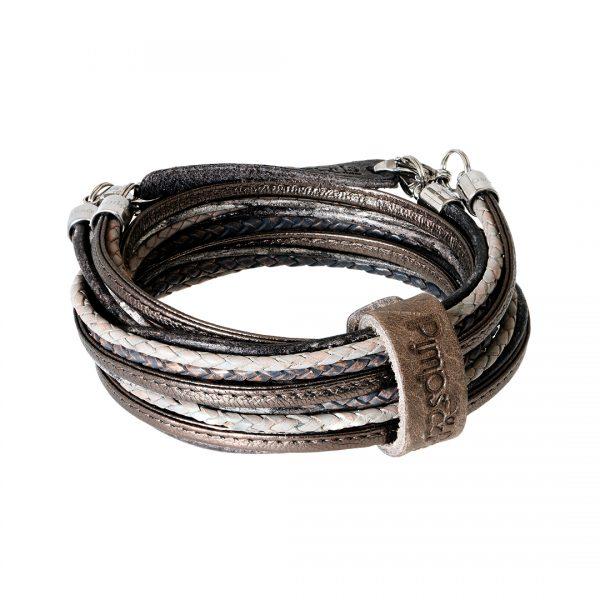 leren wikkel armband ketting brons Superior