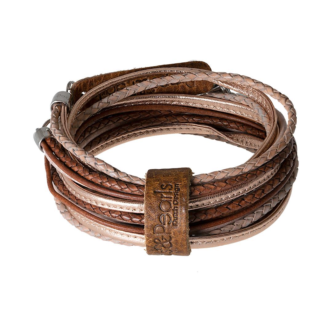 leren wikkel armband ketting Rosé Superior