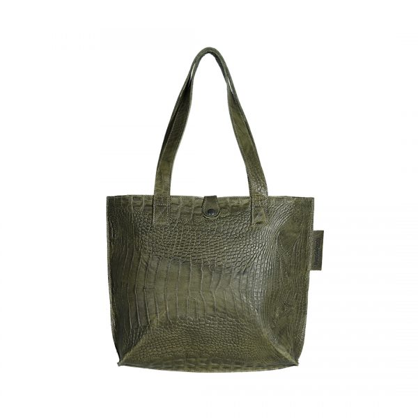 Leren dames tas Shopper Croco groen New Look Tasss 12