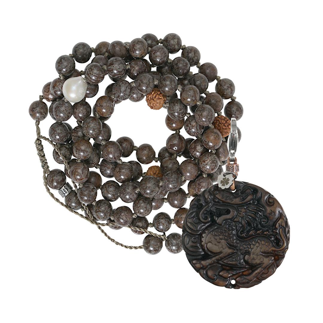 Edelsteen ketting XL bruin Obsidiaan Saya Mala