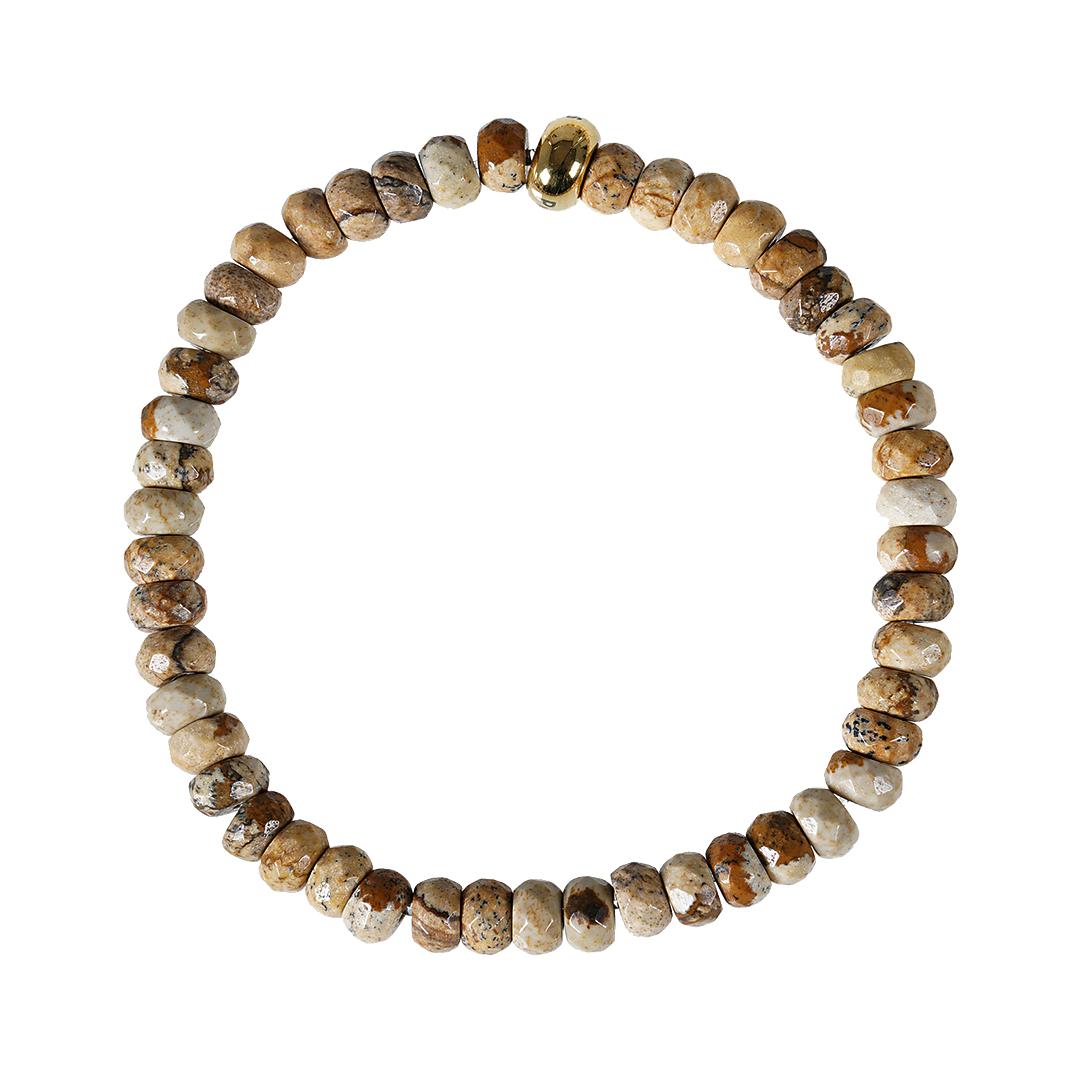 Edelsteen armband Facet kort beige Landschap Jaspis RoN