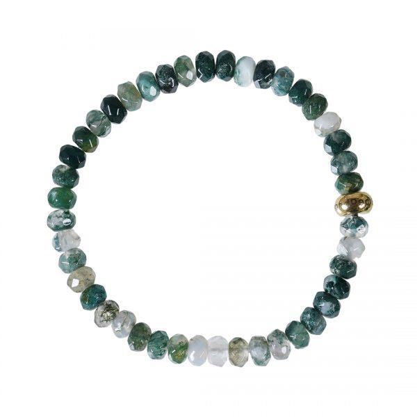 Edelsteen armband Facet kort groen Mosagaat RoN