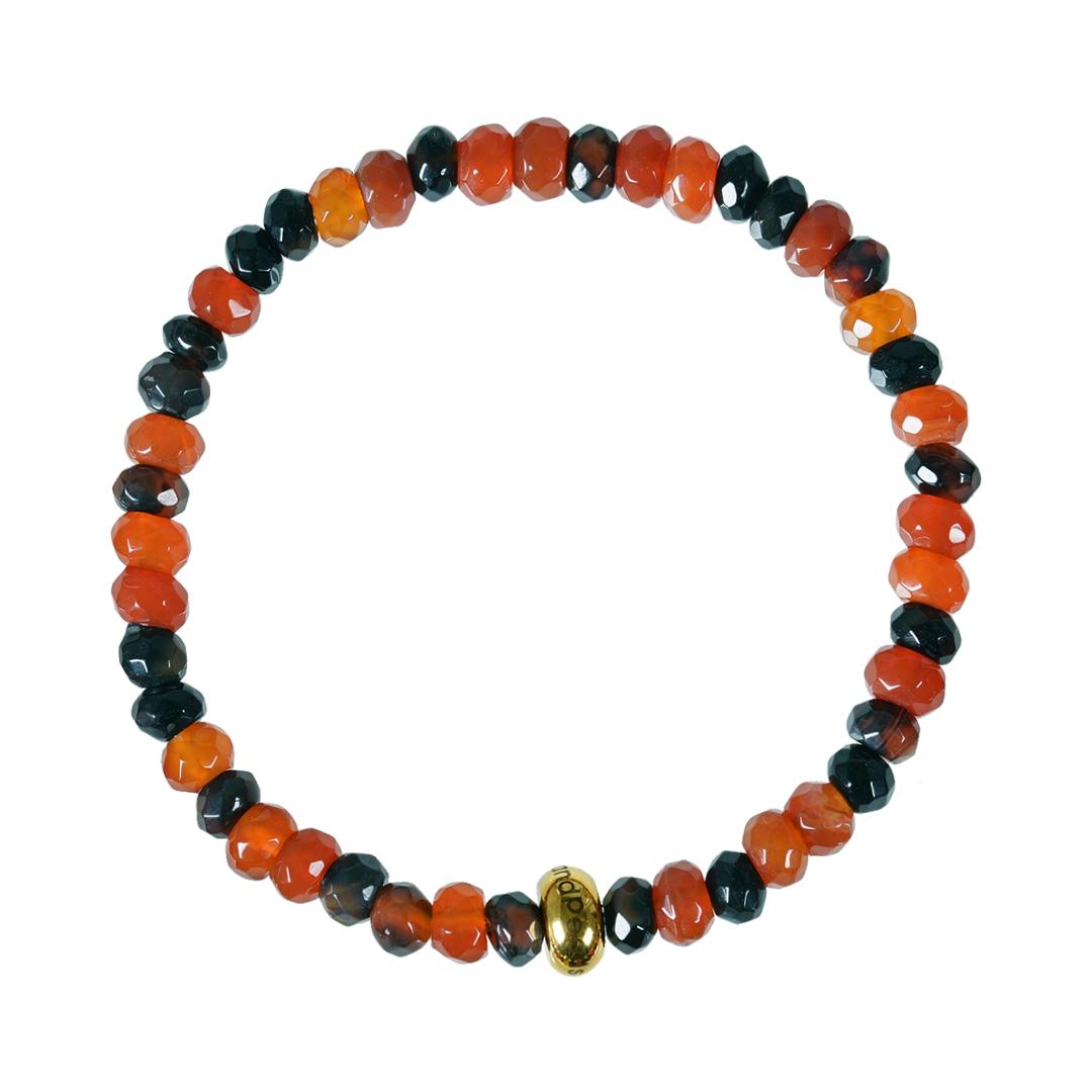 Edelsteen armband Facet kort naturel oranje Carneool RoN