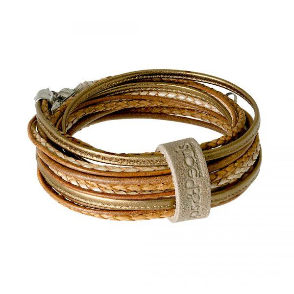 leren wikkel armband ketting goud Superior
