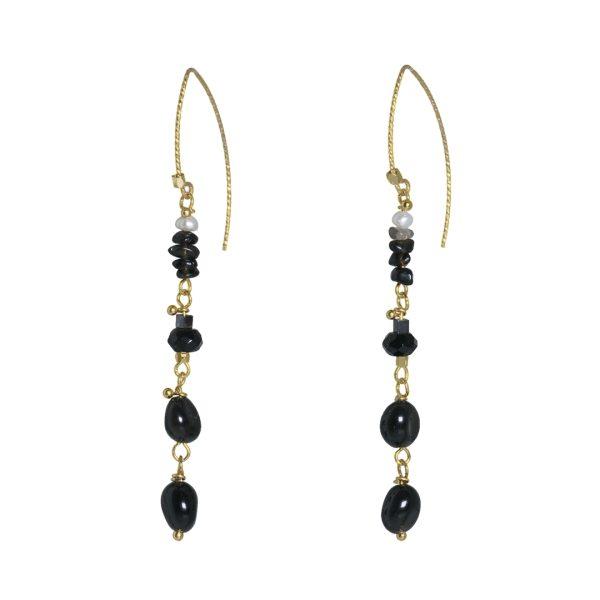 Edelsteen Oorbellen Goud zwart Onyx Fruity Pearls