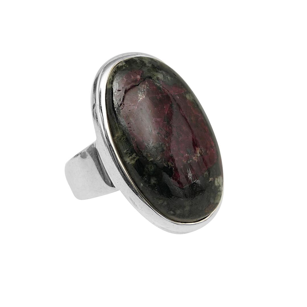 Edelsteen Ring D Australisch Rhodoniet zilver verstelbaar